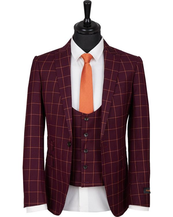 Slim Fit Three Piece Checked Suit