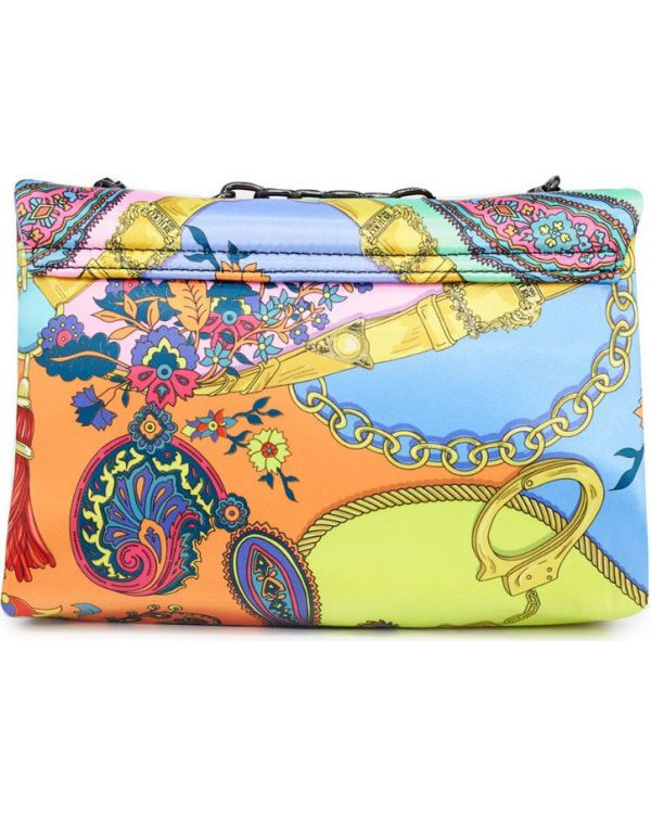 Baroque Print Satin Shoulder Bag