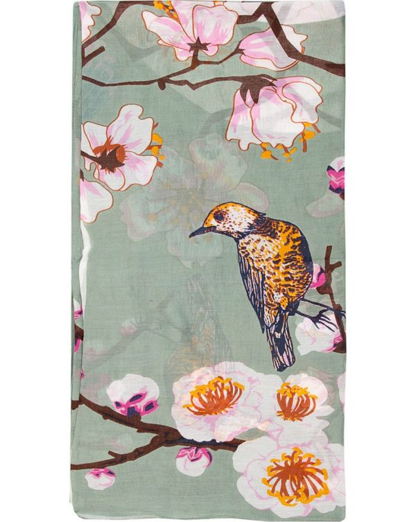 Blossom And Birds Print Scarf