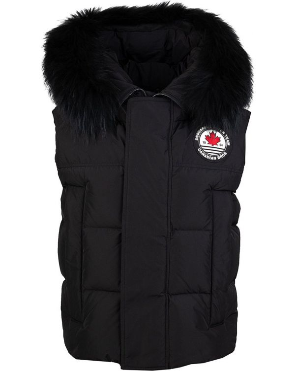 Padded Fur Hooded Gilet