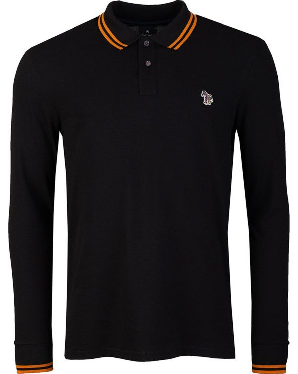 Long Sleeved Zebra Tipped Polo Shirt
