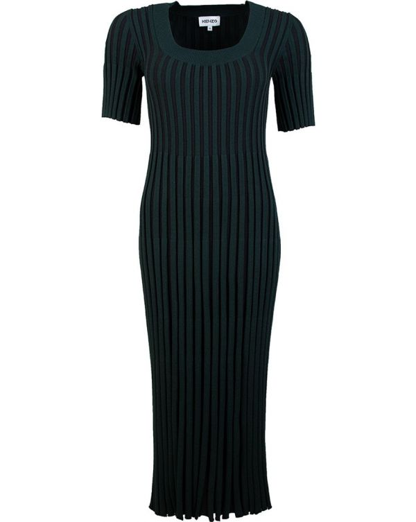 Pleated Ribbed Dress