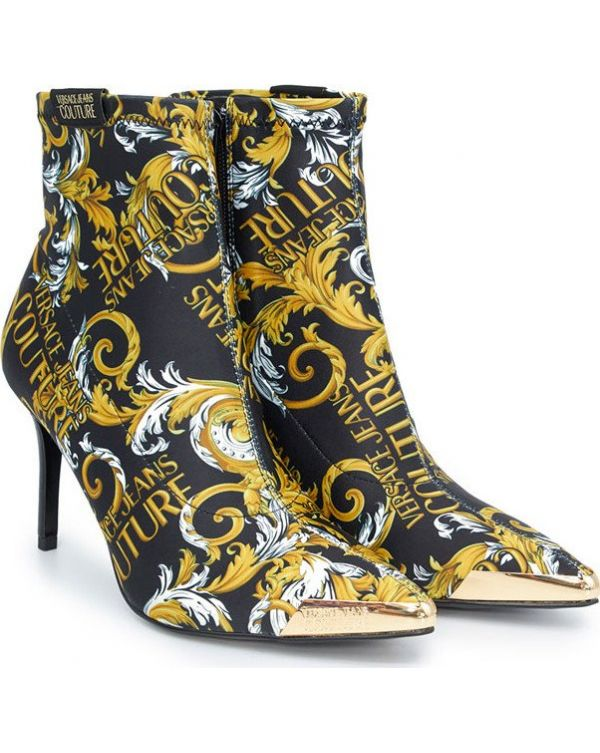Baroque Print Low Heel Ankle Boots