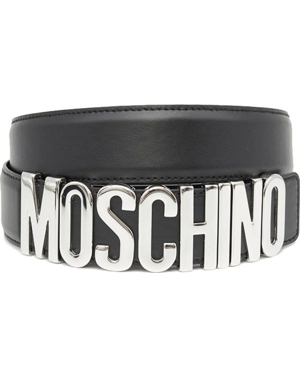 Metal Logo Leather Belt
