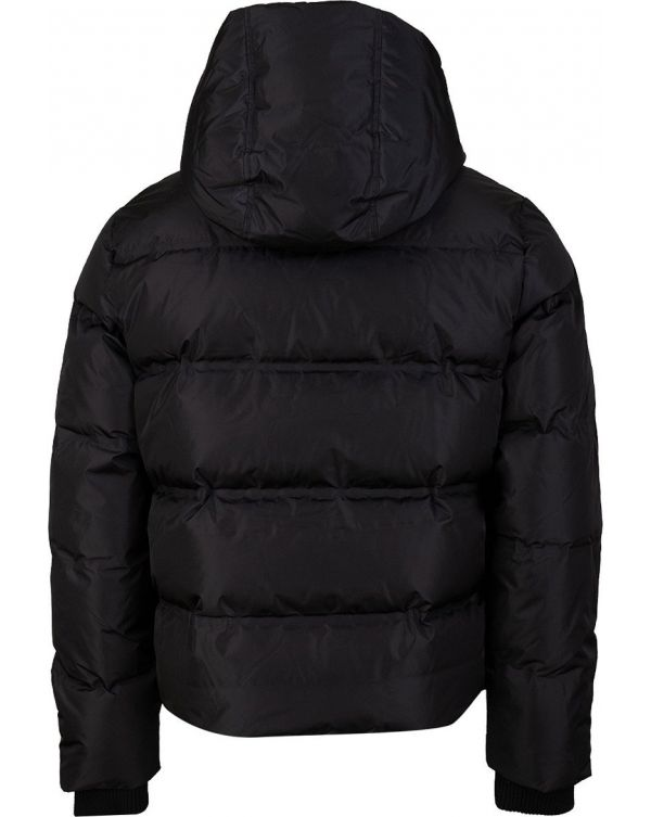 Logo Placket Hooded Down Jacket
