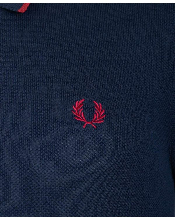 Tipped Knitted Long Sleeved Polo Shirt