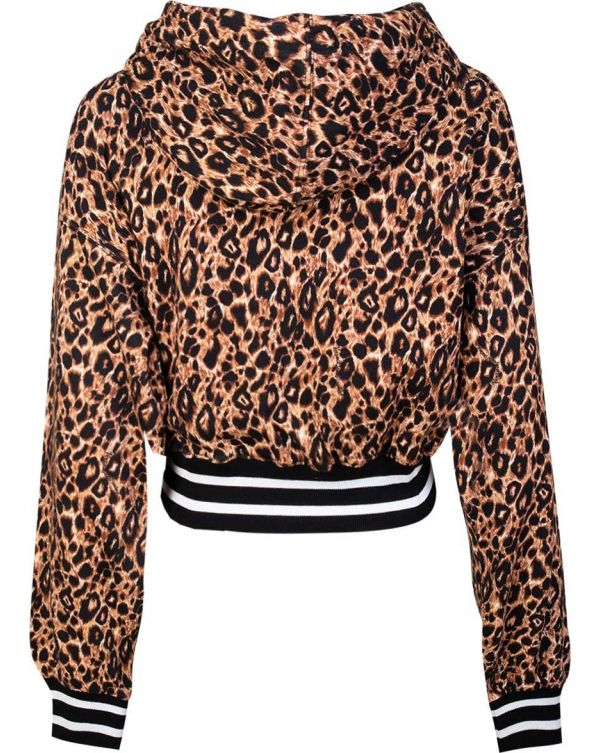 Leopard Print Cropped Hoody