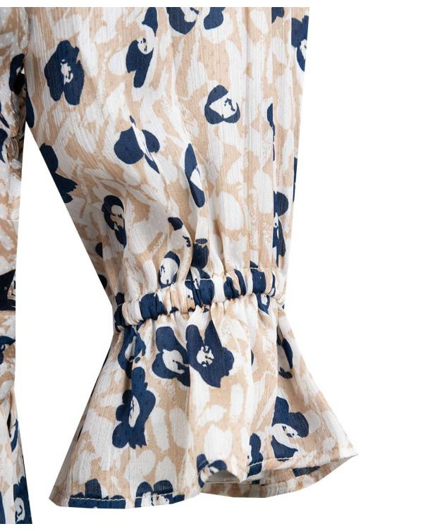 Daisy Print Long Sleeved Ruched Dress