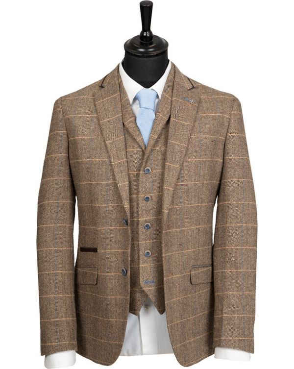 3 Piece Herringbone Checked Suit