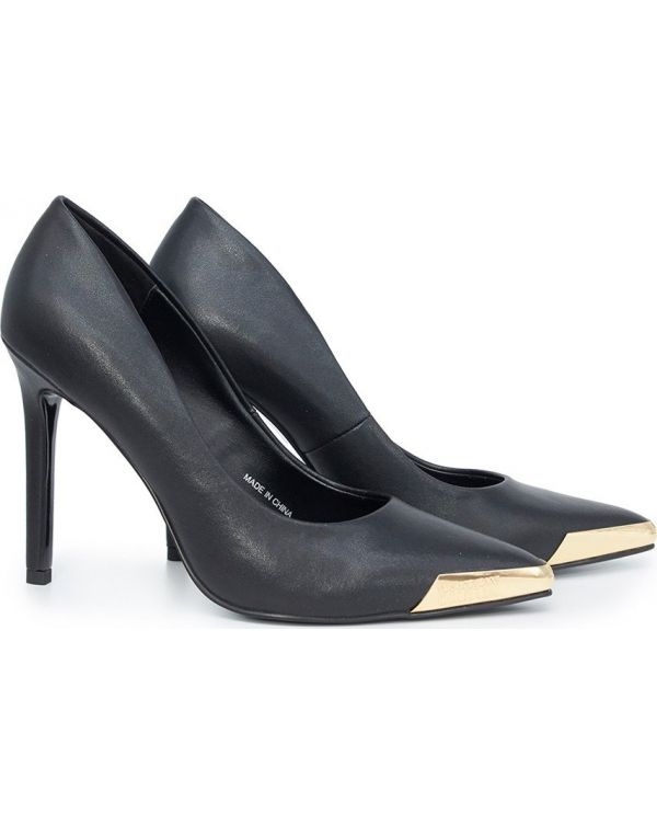 Pointed Metal Tip Heeled Court Shoes