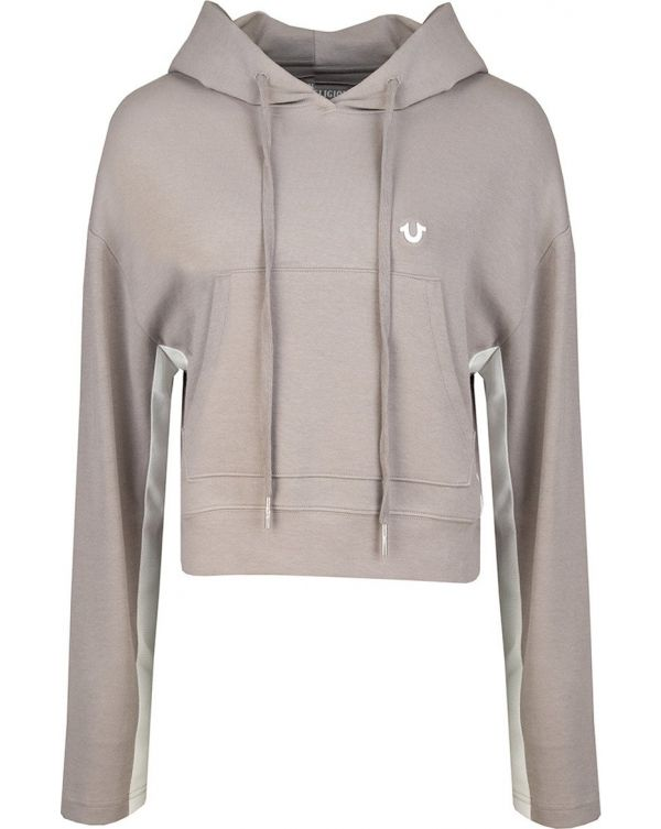 Panel Contrast Cropped Pullover Hoody