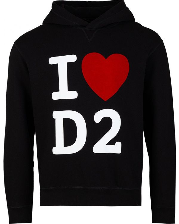 I Love D2 Pop Over Hooded Top