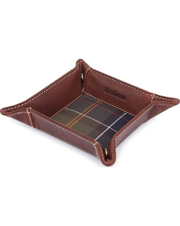 Tartan And Leather Valet Tray