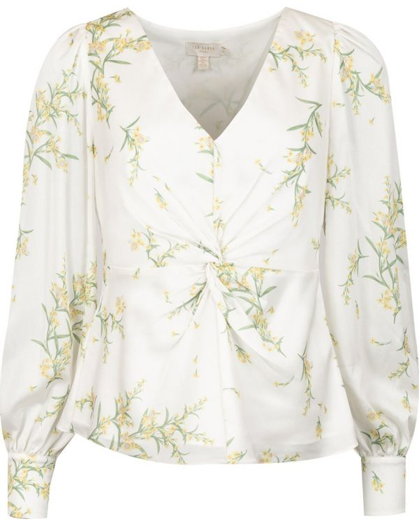 Deco Print Ruched Blouse