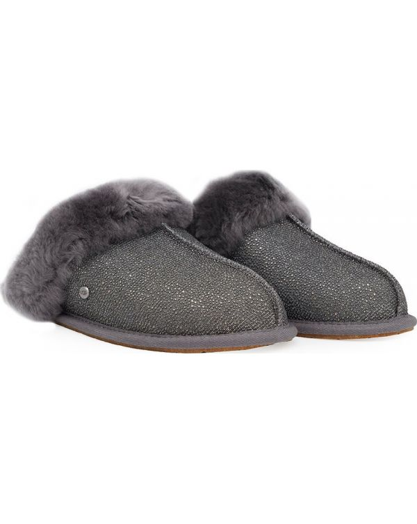 Metallic Scuffette Shearling Slippers