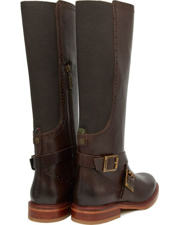 Mary Brogue Knee High Chelsea Boots