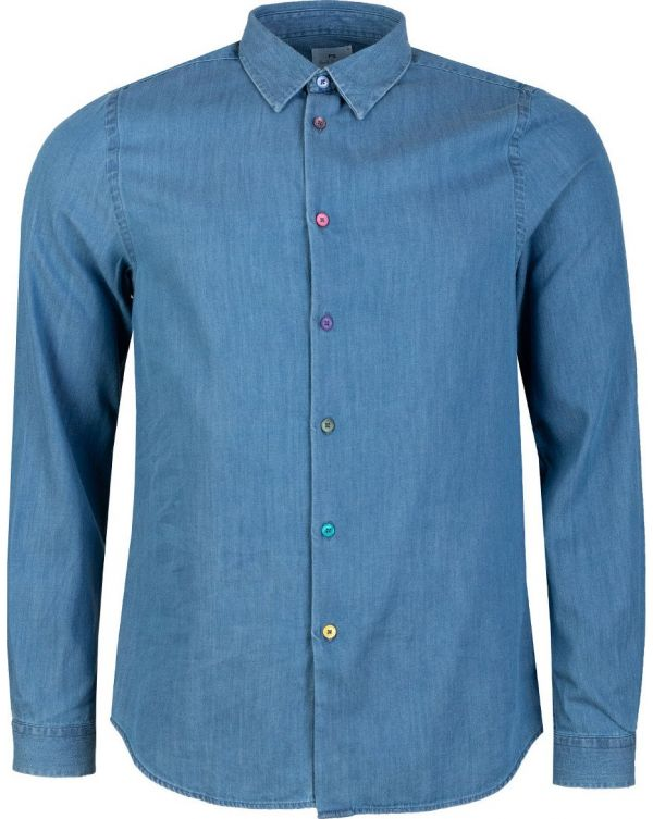 Contrast Buttons Chambray Shirt