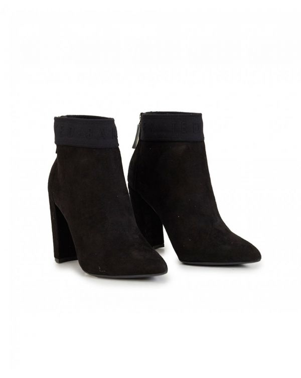 Branded Suede Ankle Boots