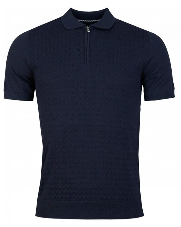 Basket Weave Knitted Polo Shirt