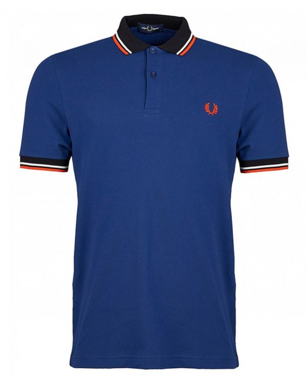 Contrast Ribbed Short Sleeved Polo