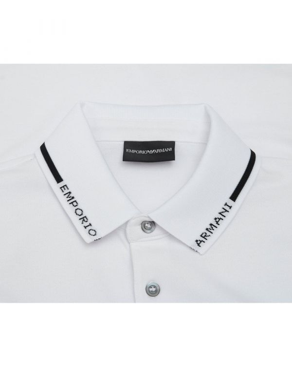 Emporio Logo Collar Pique Polo Shirt