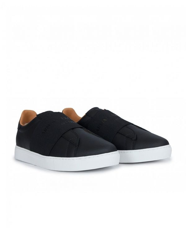 Elastic Logo Leather Trainers