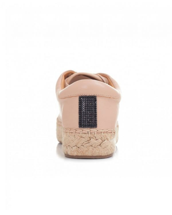 Sequin Toe Lace Up Leather Espadrilles