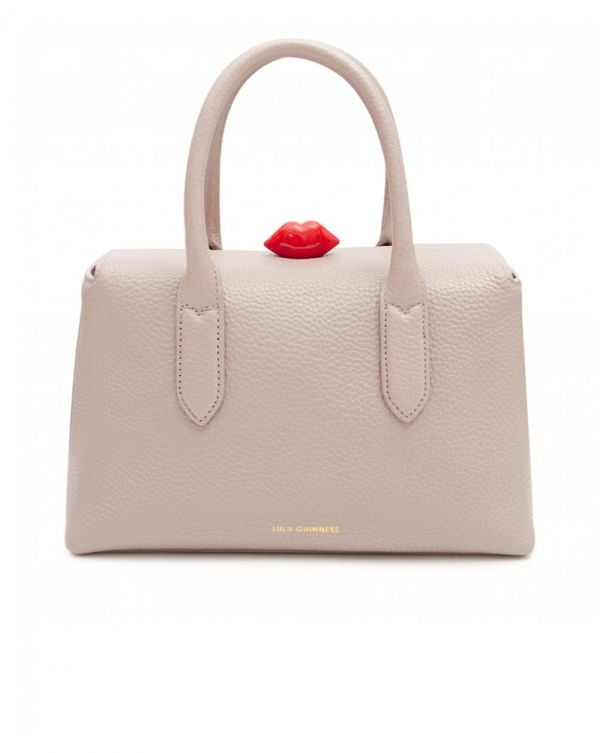 Madeline Grainy Leather Lip Tote Bag