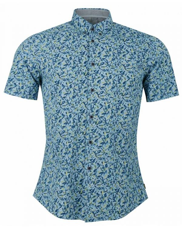 Short Sleeved Leaf Pattern Shirt