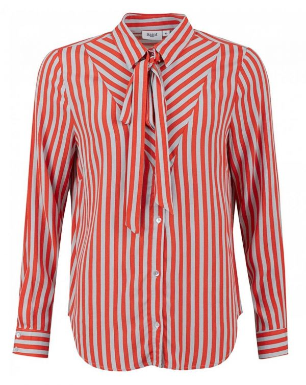 Striped Blouse With Tie