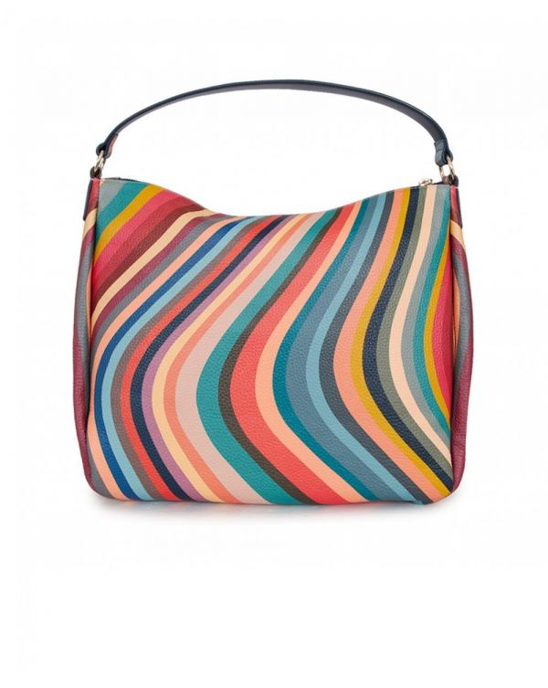 Swirl Leather Zip Hobo Bag