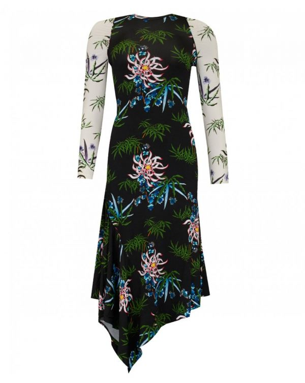 Sea Lily Print Asymmetric Dress
