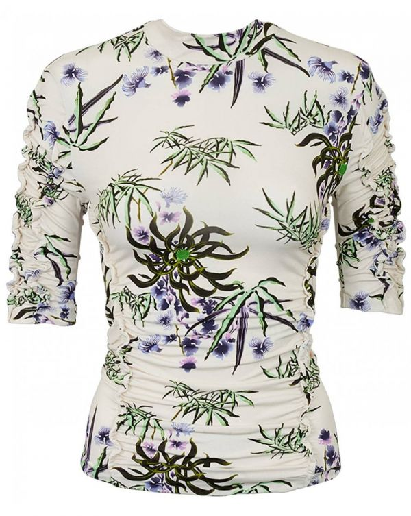 Sea Lily Print Ruched Top