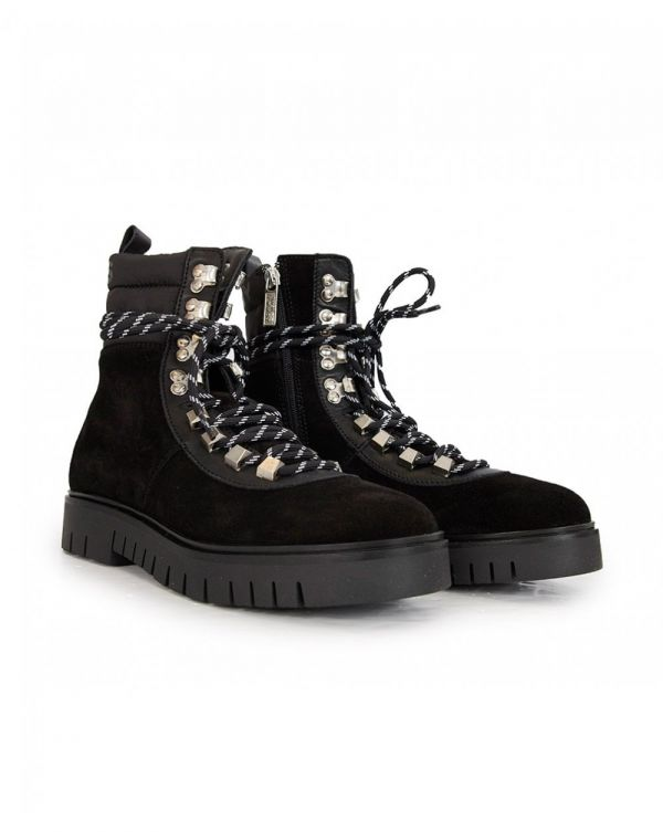 Padded Nylon Lace Up Boots