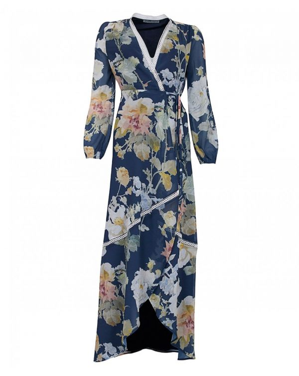 Long Sleeved Floral Wrap Dress