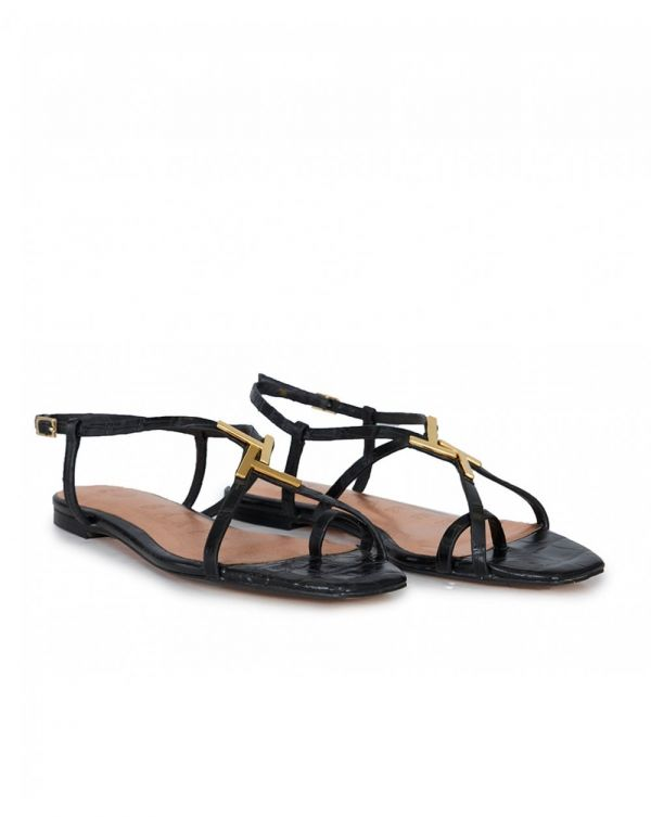 Leather T Bar Sandals