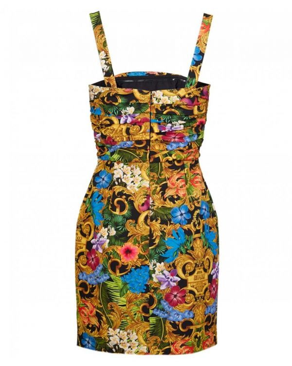 Jungle Baroque Print Belt Strap Dress