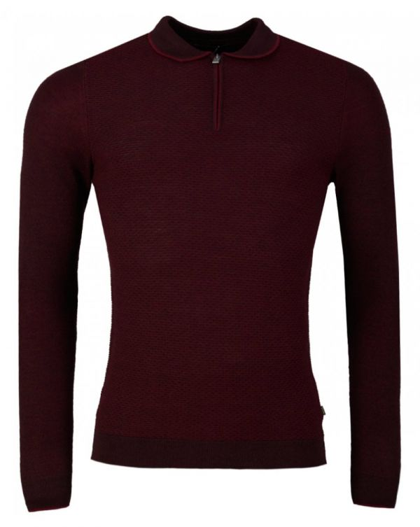 Zip Neck Long Sleeved Knitted Polo Shirt