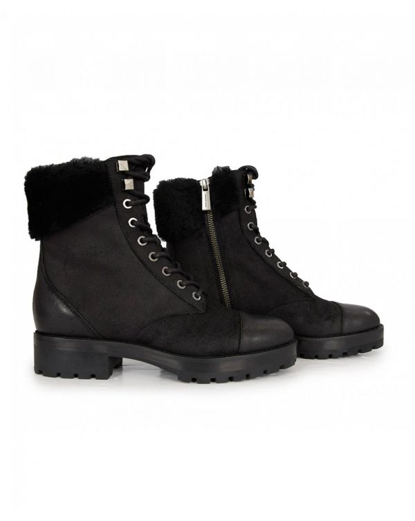 Cramer Shearling Detail Lace Up Ankle Boots