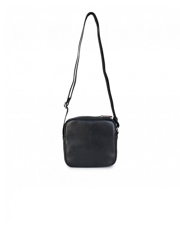 Textured Logo Pu Crossbody Bag