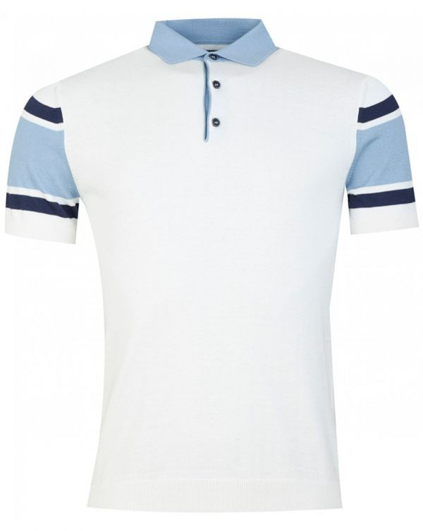 Hoop Sleeved Knitted Polo Shirt