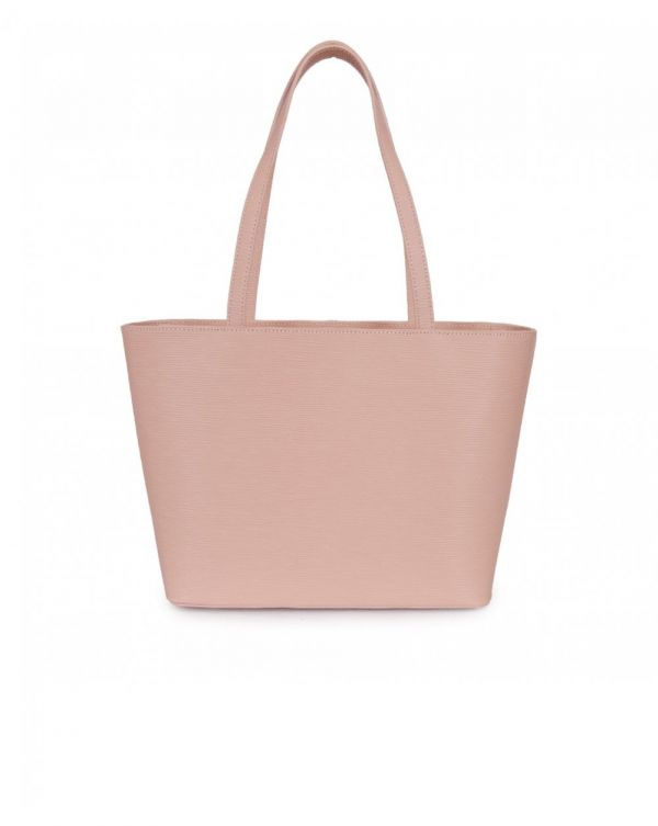Textured Leather Bow Tote Bag