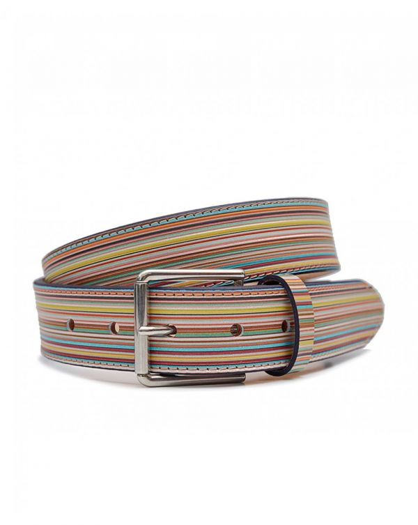 Multi Striped Leather Belt