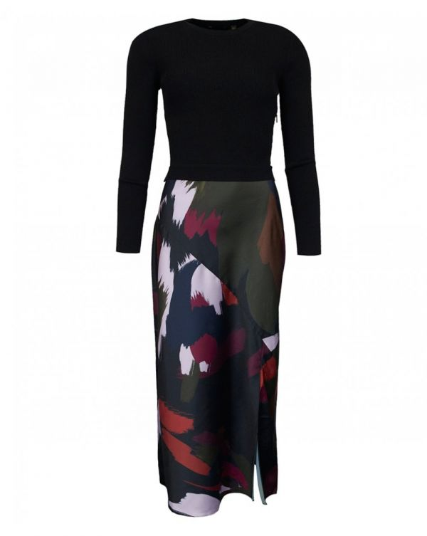 Knitted Top Abstract Print Skirt Dress