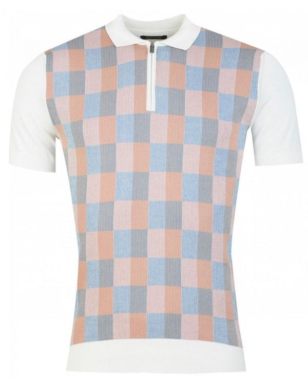 Check Front Knitted Polo Shirt