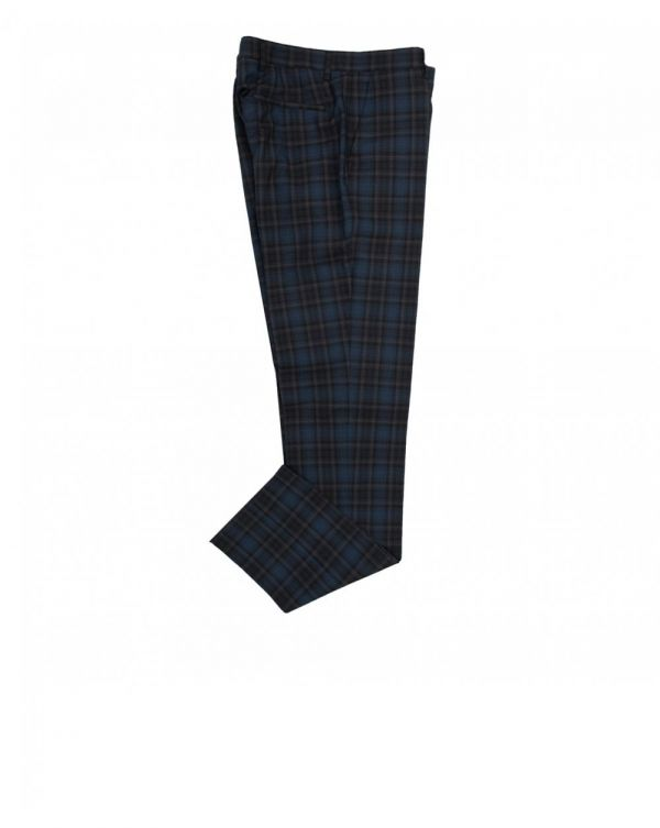 Wool Cotton Check Trousers