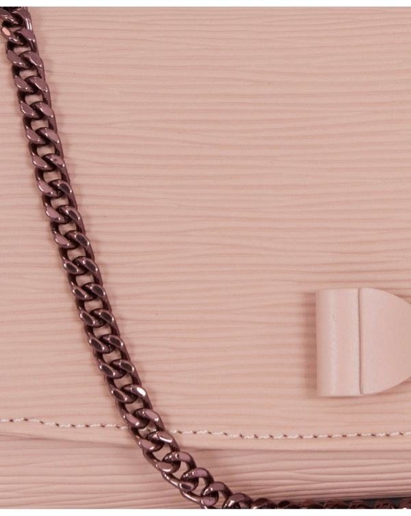 Textured Leather Bow Purse