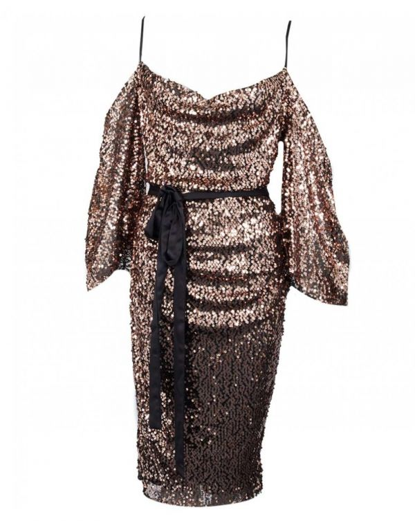 Liliana Sequin Drop Shoulder Midi Dress