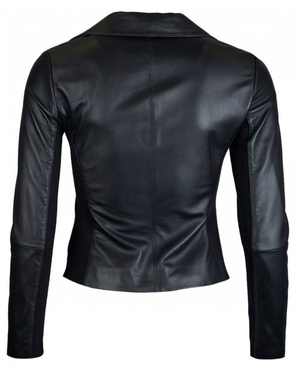 Asymetric Zip Leather Jacket