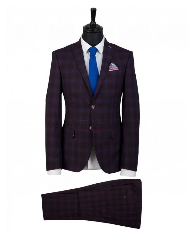 Window Pane Checked Two Piece Suit